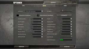 Graphic settings used for the test