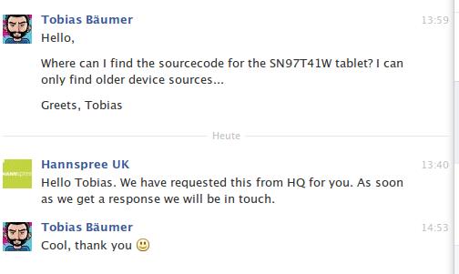Response from Hannspree UK regarding sn97t41w sources