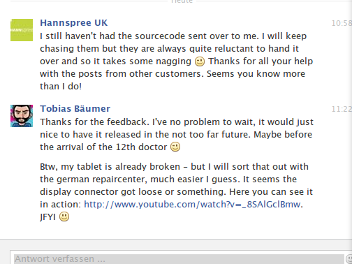 Fourth response from Hannspree UK regarding sn97t41w sources