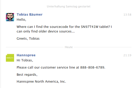Response from Hannspree USA regarding sn97t41w sources