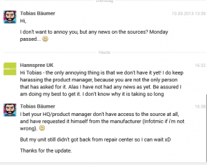 7th response from Hannspree UK regarding sn97t41w sources
